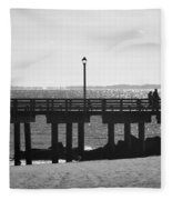 Coney Island Coast In Black And White Fleece Blanket