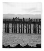 Coney Island Pier In Black And White Fleece Blanket