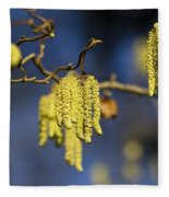 Contorted Hazel Catkins Fleece Blanket
