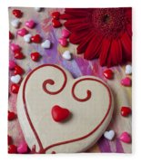 Cookie And Candy Hearts Fleece Blanket