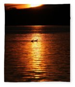 Coots In The Sunset Fleece Blanket