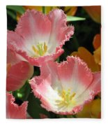Coral Tulips Fleece Blanket