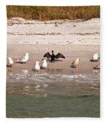 Cormorant Stands Out Fleece Blanket