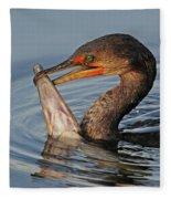Cormorant With Large Fish Fleece Blanket