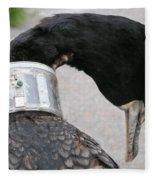 Cormorant With Radio Collar Fleece Blanket