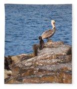 Cormorants And Pelican Fleece Blanket