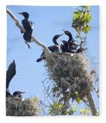 Cormorants Nesting Fleece Blanket