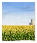 Corn Field With Silos Fleece Blanket