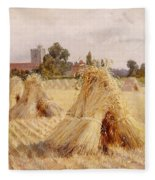 Corn Stooks By Bray Church Fleece Blanket