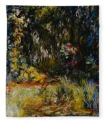 Corner Of A Pond With Waterlilies Fleece Blanket