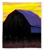 Cornfield Barn Sky Fleece Blanket