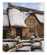 Cotswolds Cottage Covered In Snow Fleece Blanket