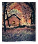 Cottage In The Woods Fleece Blanket