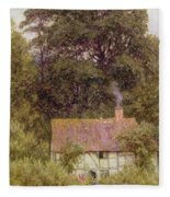 Cottage Near Brook  Fleece Blanket