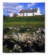 Cottage On Achill Island, County Mayo Fleece Blanket
