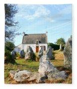 Cottage With Standing Stones Fleece Blanket