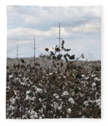 Cotton Ready For Harvest In Alabama Fleece Blanket