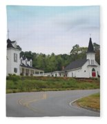Country Church In Texture Fleece Blanket