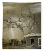 Country Horses Lightning Storm Ne Boulder Co 66v Bw Art Fleece Blanket