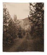 Country Road In Sepia  Fleece Blanket