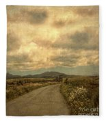 Country Road With Wildflowers Fleece Blanket