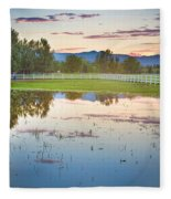 Country Sunset Reflections Fleece Blanket