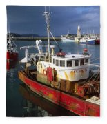 County Waterford, Ireland Fishing Boats Fleece Blanket