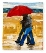 Couple Under A Red Umbrella Fleece Blanket