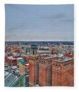 Courthouse And Statler Towers Winter Fleece Blanket