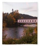 Covered Bridge At Dawn No. 1 Fleece Blanket