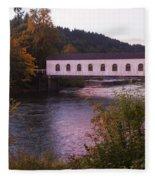 Covered Bridge At Dawn No. 2 Fleece Blanket