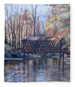 Covered Bridge At Lake Roaming Rock Fleece Blanket