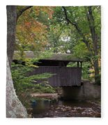 Covered Bridge By The Cottage  Fleece Blanket