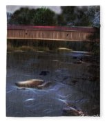 Covered Bridge In The Rain Fleece Blanket