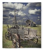 Covered Wagon And Farm In 1880 Town Fleece Blanket