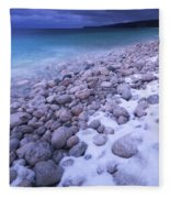 Covered With Snow Pebbled Shore Of Georgian Bay Fleece Blanket