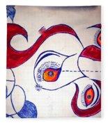 Cow Drawing With 3 Eye Opend Fleece Blanket