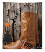 Cowboy Boots And Christmas Ornaments Fleece Blanket