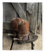Cowboy Boots With Spurs Fleece Blanket