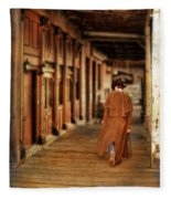 Cowboy In Old West Town Fleece Blanket