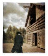 Cowboy Walking By Barn Fleece Blanket