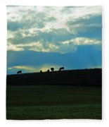 Cows On The Hill Fleece Blanket