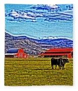 Cows Pasture Barns Superspecialeffect Fleece Blanket