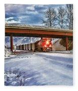 Cp Rail Coal Train Under Bridge Hdr Fleece Blanket