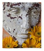Cracked Face And Sunflowers Fleece Blanket