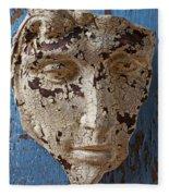 Cracked Face On Blue Wall Fleece Blanket