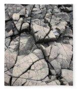 Cracked Rocks On Shore Fleece Blanket