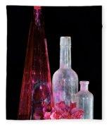 Cranberry And White Bottles Fleece Blanket