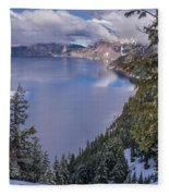 Crater Lake And Approaching Clouds Fleece Blanket