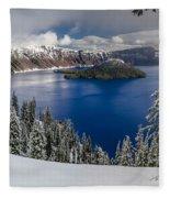 Crater Lake And Fresh Snow Panorama Fleece Blanket